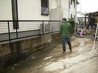 コンクリブロック塀の高圧洗浄